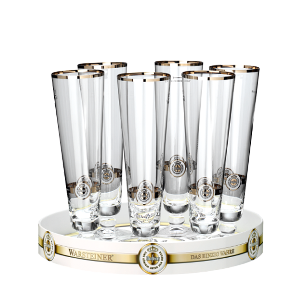 Warsteiner Mini-Tulpen 4 cl (6er Set) mit Tablett